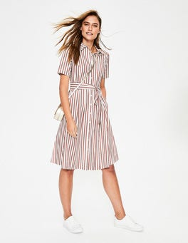 Conker/ Ivory Stripe Anastasia Shirt Dress