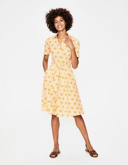 Naturweiß & Fröhliches Gelb, Sternenwellen Anastasia Hemdblusenkleid