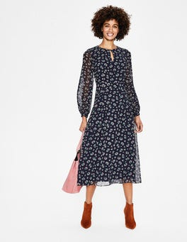 Navy Posy Bloom Ada Midi Dress