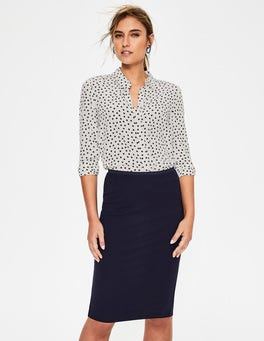 Ivory & Navy Scattered Spot Silk Shirt