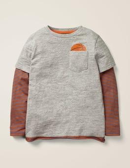 Grey Marl Layered Graphic Pocket T-shirt
