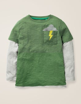 Rosemary Green Layered Graphic Pocket T-shirt