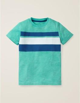 Meeresbrisenblau/Königsblau Vorgewaschenes T-Shirt aus Flammgarn