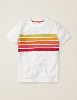 Weiß/Orange, SonnenuntergangVorgewaschenes T-Shirt aus Flammgarn