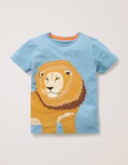 Wren Blue Lion Big Animal Appliqué T-shirt