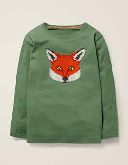Rosmaringrün, Fuchs T-Shirt mit aufgestickter Grafik