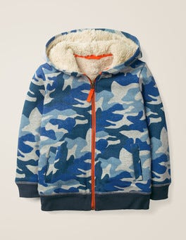Blue/Grey Marl Camo Shaggy-lined Zip-up Hoodie