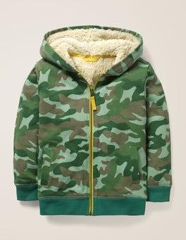 Khaki Green Camo Shaggy-lined Zip-up Hoodie