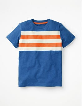 Königsblau/Sattes OrangeVorgewaschenes T-Shirt aus Flammgarn