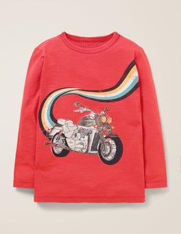 Karminrot, Motorrad T-Shirt mit Fahrzeugmotiv