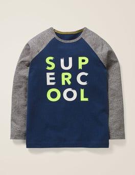 Dunkelblau, Super Cool Raglan-Shirt mit Spruch