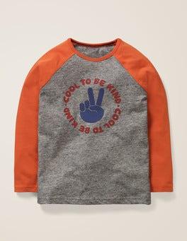 Grau Meliert, Cool Raglan-Shirt mit Spruch