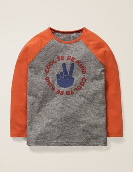 Grey Marl Cool Slogan Raglan T-shirt