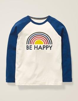 Motif Be Happy ivoire T-shirt à manches raglan et inscription