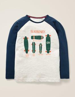 Hellbeige Meliert, Skateboards Raglan-Shirt mit Spruch