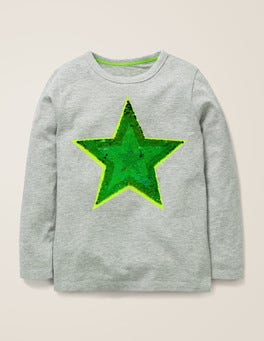 Grey Marl Star Sequin Colour Change T-shirt