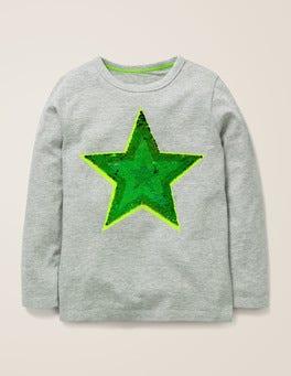 Grau Meliert, Stern T-Shirt mit farbwechselnden Pailletten