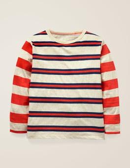 Hellbeige Meliert/Dunkelblau T-Shirt mit Streifen und Mustermix