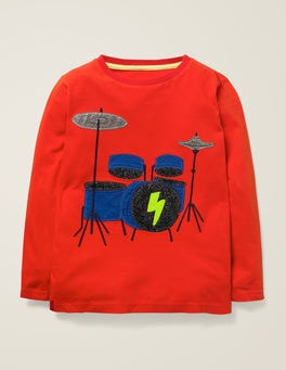 Rocket Red Drum Kit Music Appliqué T-shirt