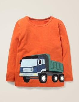 Lava-Orange, Lastwagen Originelles T-Shirt mit Fahrzeugmotiv