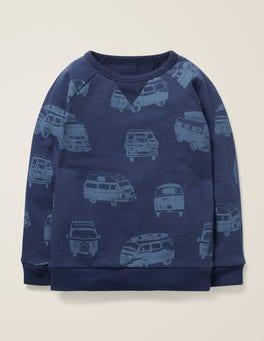 Dunkelblau, Wohnmobile Sweatshirt mit fröhlichem Muster