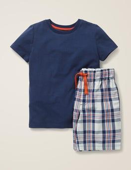 Dunkelblau/Herbstliches OrangeKurzes Schlafanzug-Set