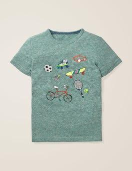Camp-Grün Meliert, Sport T-Shirt mit fröhlichem Muster