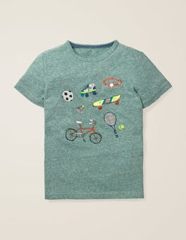 Camp Green Marl Sports Fun Printed T-shirt