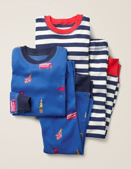 Duke Blue London Twin Pack Long John Pajamas