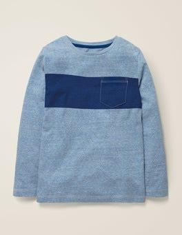 Blau Meliert/Fischreiherblau T-Shirt mit buntem Streifen