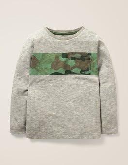 Mid Grey Marl/Camo Bold Stripe T-shirt