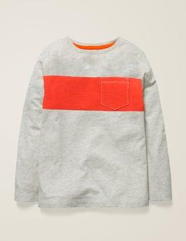 Hellbeige Meliert/SignalorangeT-Shirt mit buntem Streifen