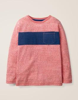Rot Meliert/Fischreiherblau T-Shirt mit buntem Streifen