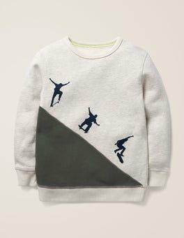 Hellbeige Meliert, Skateboarder Skater-Sweatshirt