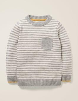 Grau Meliert/Naturweiß Basic-Pullover mit Rundhalsausschnitt