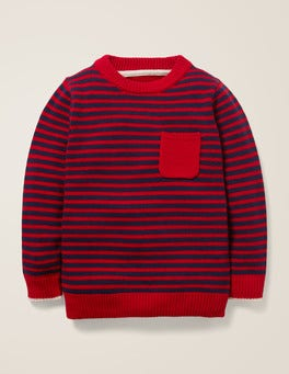 College Blue/Rockabilly Red Essential Crew Jumper