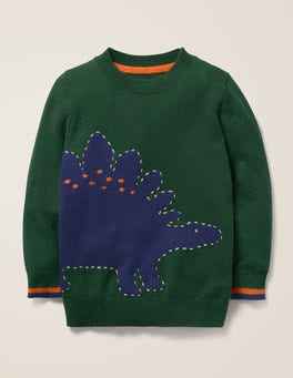 Green Dinosaur Graphic Crew Sweater