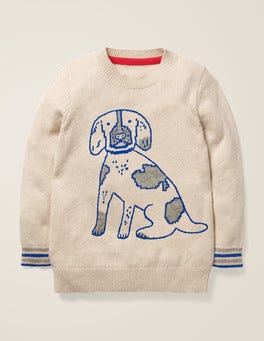 Oatmeal Marl Dog Graphic Crew Sweater