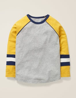 Grey Marl/Mustard Yellow Raglan T-shirt