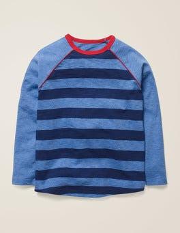 Dunkelblau/Blau Meliert Raglan-T-Shirt