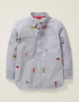Grey Marl London Embroidered Oxford Shirt