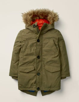Khaki Green Shower Resistant Padded Parka