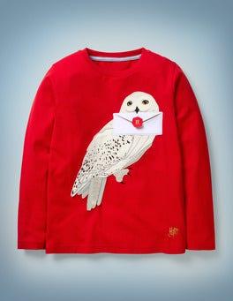 Rockabilly Red Hedwig Appliqué T-shirt