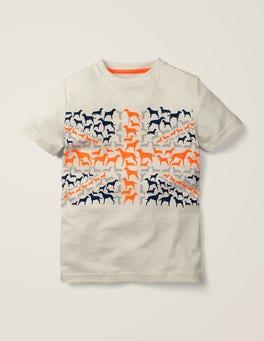 Naturweiß, Hunde T-Shirt mit dem Union Jack