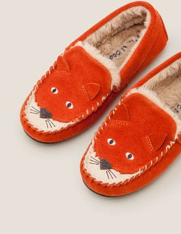 Autumn Spice Orange Suede Fox Slippers
