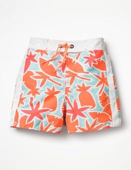 Neon Orange Pineapple Palm Poolside Shorts