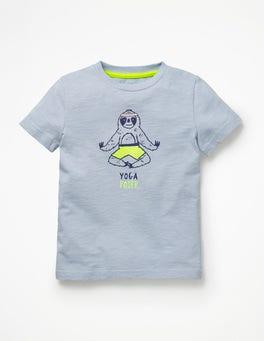 Glockenblumenblau, Yoga Poser T-Shirt mit Tiermotiv