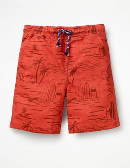 Baked Coral Beach Scene Washed Canvas Pull-on Shorts
