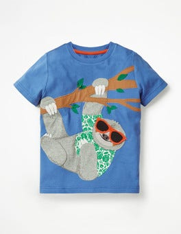 Elizabethan Blue Sloth Appliqué Animal Dude T-shirt