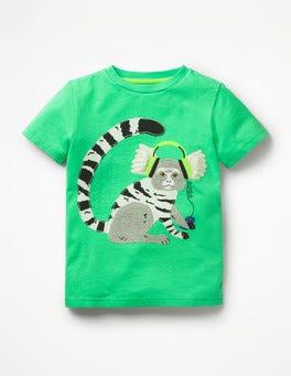 Papageigrün, Krallenäffchen T-Shirt mit cooler Tierapplikation